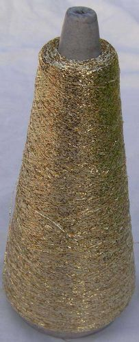 Gold metalic Lurex thread fine 3400mtr 50g cone